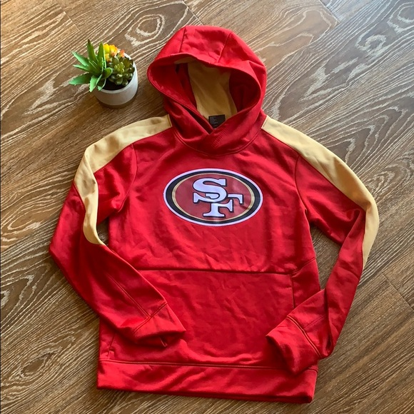 NEW NFL San Francisco Boys Youth Size S,L Long Sleeve Hoodie Red//Gold NWT